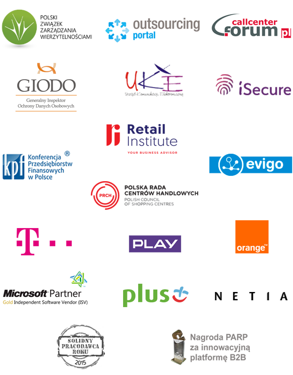 partnerzy biznesowi Tide Software: PZW, Forum Call Center, KPF, GIODO, UKE, iSecure, Retail & E-commerce institute, Evigo, PRCH, T-Mobile, Play, Orange, Plus, Netia, Microsoft Partner, Solidny Pracodawca Roku 2015, Nagroda PARP za innowacyjną platformę B2B