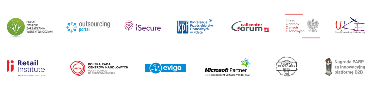 Lista partnerów Tide Software: PZW, Forum Call Center, KPF, UODO, UKE, iSecure, Retail & E-commerce institute, Evigo, PRCH, T-Mobile, Play, Orange, Plus, Netia, Microsoft Partner, Solidny Pracodawca Roku 2015, Nagroda PARP za innowacyjną platformę B2B