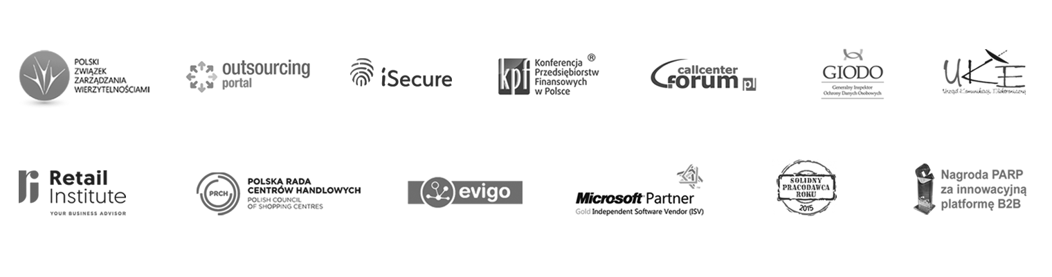 Lista partnerów Tide Software: PZW, Forum Call Center, KPF, GIODO, UKE, iSecure, Retail & E-commerce institute, Evigo, PRCH, T-Mobile, Play, Orange, Plus, Netia, Microsoft Partner, Solidny Pracodawca Roku 2015, Nagroda PARP za innowacyjną platformę B2B